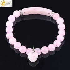 2019 <b>CSJA Natural Gemstone</b> Pink Crystal Bracelet For Women ...