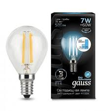 Светодиодная <b>лампа Gauss Filament</b> Шар Globe E14 7W 4100K ...