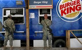 military self service junk food