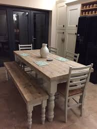 bench kitchen pinterest table hand crafted farmhouse dining table with reclaimed wood top and farrow