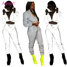 <b>Adogirl Women Sexy Reflective</b> Tracksuit Night Version Buttons ...