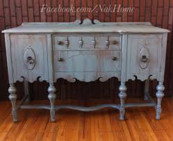 furniture makeover shabby chic blue gray vintage buffet tv console credenza hand painted with homeade diy blue shabby chic furniture