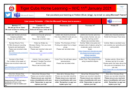 Tiger Cubs Home Learning – W/C 11 January 2021