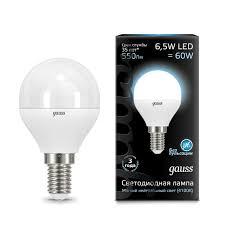 105101207 <b>Лампа Gauss LED Globe</b> E14 6.5W 100-240V 4100K 1 ...