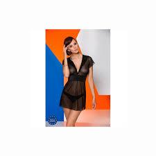 <b>Черная полупрозрачная сорочка</b> Effi L/XL купить секс шоп абрикос