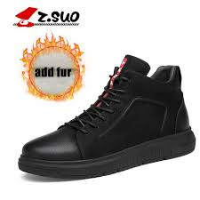 ZSUO <b>Winter</b> Men Leather Ankle Vulcanize Shoes <b>Big Size</b> Fur Add ...