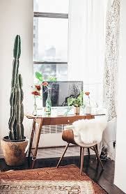 modern desk chair with faux fur and small wooden desk with tall potted cactibeautiful minimal home office spaces and home organisation create an inspiring beautiful home office furniture inspiring fine