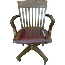 image of vintage wood swivel desk chair antique deco wooden chair swivel