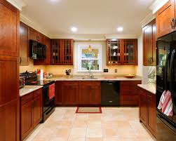 galley kitchen black appliances