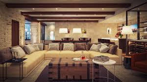 warm living room ideas: awesome design of rustic living room with white comfirtable sofa also grey cushions