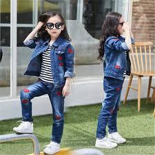 2019 2018 <b>Autumn Spring School Girl</b> Denim Clothing Set Jean ...