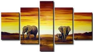 2019 5 Panel <b>Handmade Oil Painting</b> African <b>Elephant</b> Painting ...