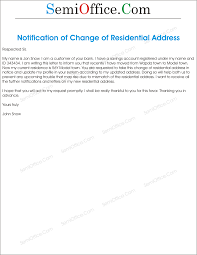 change of residential address letter letter to inform change of address sample