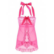 [37% OFF] 2020 <b>Mesh</b> Split Babydoll With Ruffles In WATER RED ...