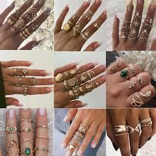 Nine Design <b>8Pcs</b>/Lot Bohemian Finger Ring Set For <b>women Gold</b> ...