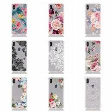 Fashion <b>Hollow Painted Flowers</b> Transparent Ultra Slim Soft <b>TPU</b> ...