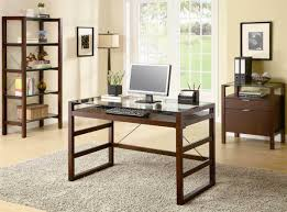 dark cherry finish modern glass top home office desk woptions home office furniture cherry finished