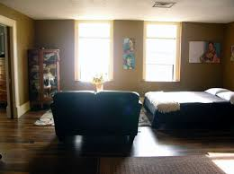 living room with bed: living room with murphy bed down