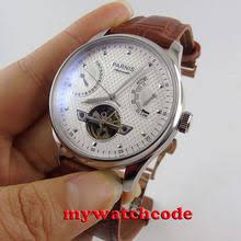 business gold watch men 43mm parnis mechanical watches power