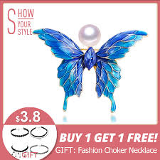 <b>ZHBORUINI</b> 2019 Real Natural <b>Pearl Brooch</b> Blue Enamel Butterfly ...