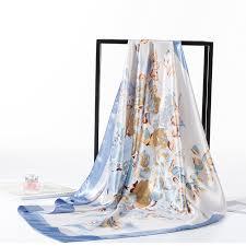 Women <b>Luxury</b> Brand Flower Print Square <b>Silk</b> Scarfs <b>Head Wraps</b> ...