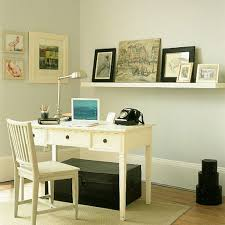 this take on a white home office evokes french influence and shabby chic design while utilizing a neutral color palette here off white is the star of the chic home office white