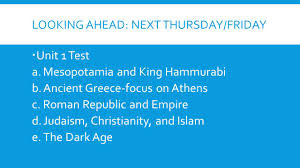 religions and the new europe homework due thursday friday mesopotamia and king hammurabi b ancient focus on athens c r republic and empire d judaism christianity and islam e the dark age