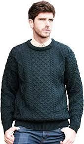 Aran Crafts Irish Soft Cable <b>Knitted</b> Crew Neck <b>Sweater</b> (100% Pure ...
