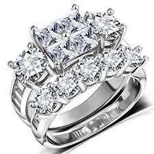 Princess Wedding Rings for Women - Brilliant Cubic ... - Amazon.com