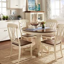 three piece dining set: tribecca home mackenzie country style two tone round scroll back dining set