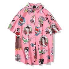 Casual <b>Print Short Sleeve</b> Shirt Men Streetwear <b>Summer</b> Hawaii ...