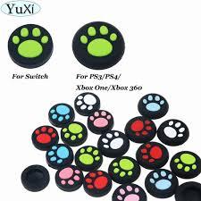 <b>YuXi</b> Cat Paw Silicone Joystick Thumb Grips <b>Analog</b> Stick Non slip ...