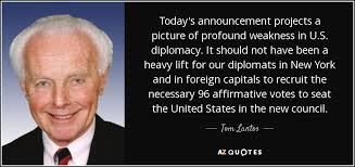 Tom Lantos quote: Today's announcement projects a picture of ... via Relatably.com