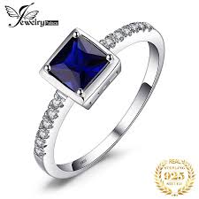 <b>JewelryPalace Created Blue Sapphire</b> Solitaire Ring 925 Sterling ...