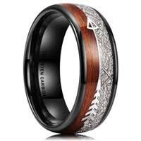 8mm Men's <b>Fashion Tungsten Steel Ring</b> Black Brushed Ladder ...