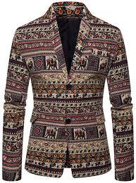 Sinfu <b>Mens Casual Blazer Jacket Turn</b>-<b>Down</b> Collar Ethnic Printed ...