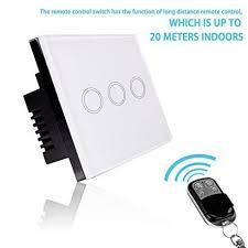 Smart Light Switch - RF Touch <b>Remote Control</b> - <b>3 Gang</b> (NO ...