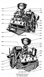 flathead parts drawings engines complete engine for 1949 left right view