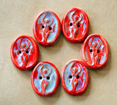 6 Ceramic Buttons - <b>Goddess</b> Buttons in Rich <b>Red and Silver</b> ...