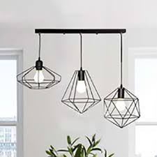 Living Room Wire Frame Suspension Light Metal 3 Heads Industrial ...
