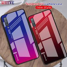 <b>Luxury Tempered Glass Phone</b> Case For Samsung Galaxy A7 2018 ...