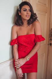 <b>Red Lace Puff</b> Sleeve Bardot Mini Dress   In The Style Ireland