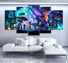 <b>Modern Canvas Framework</b> Hd Printed Living Room 5 Panel Rick ...