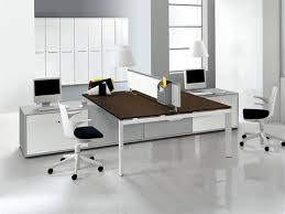 attractive office dcor with exciting shared double desk awesome black red armchairs on white floor attractive modern office desk design