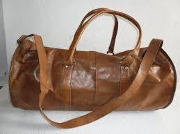 HV Brown <b>Genuine Leather Round</b> Duffel Travel <b>Bag</b>, Packaging Type