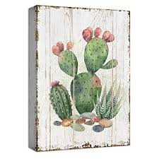 abstract watercolor cactus wall painting print poster nordic wood solid hanging living room modern home decoration