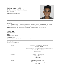 sample of resume format for job application template examples of resume for job application