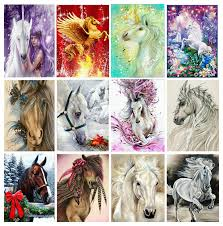 "MHD <b>Full round drill 3D</b> diamond painting ""horse unicorn"" animal 5D ..."
