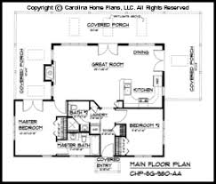 Small Contemporary Cottage House Plan SG  Sq Ft   Affordable    SG  Main Floor Plan