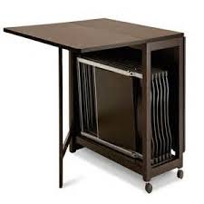 dining table with wheels: folding dining table with chair storage